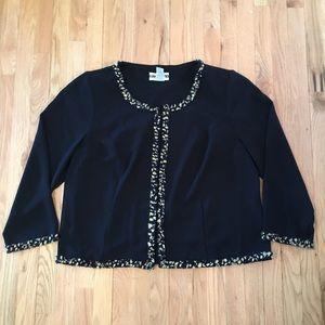 Vintage Dana Kay navy polka dot ruffle blazer 22W